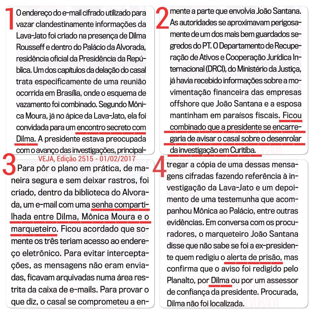#DilmaGolpista não só tentou obstruir Justiça nomeando Lula; mas também alertando João Santana sobre investigações e prisão, segundo ele.