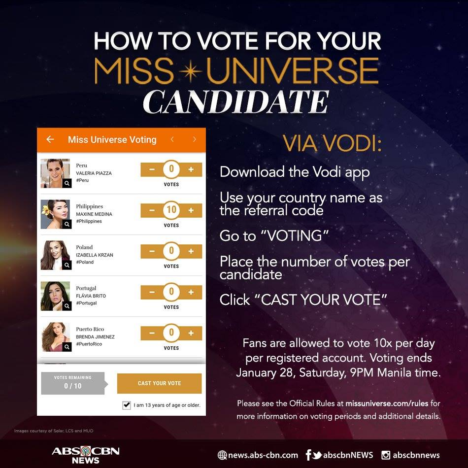 ONE HOUR TO GO BEFORE VOTING ENDS! Help #MissUniverse #Philippines Maxine Medina move closer to the title. Here's how: