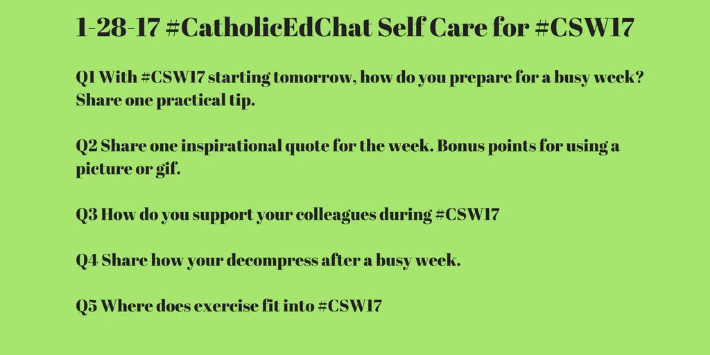 #CatholicEdChat Today's questions- 8am CST. All are welcome! https://t.co/ts1skpb5CT