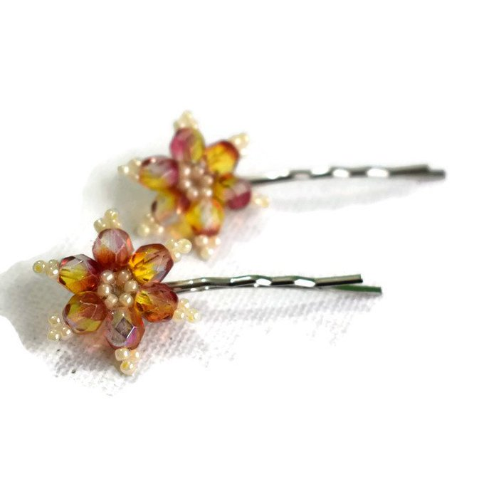 Topaz and Pink Flower Hairclips