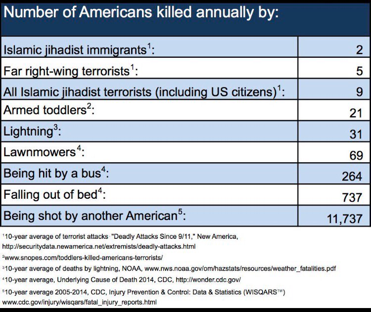 Some perspective on the threat that Americans face from Muslims in the US. Maybe Trump should ban something else? https://t.co/4JoxEsUjwQ