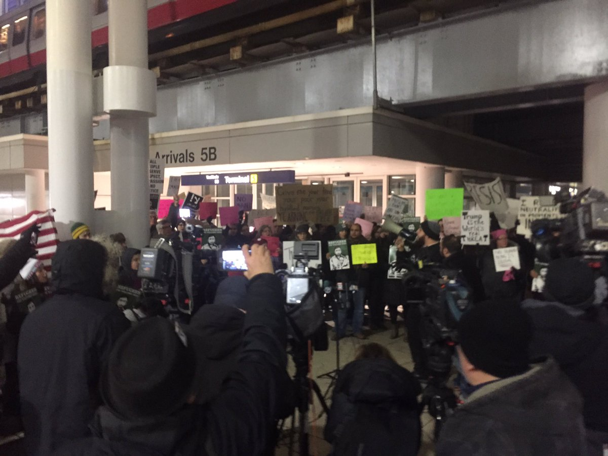 Happening now: at O'Hare standing up against Muslim ban. https://t.co/HbpbIDtb6W