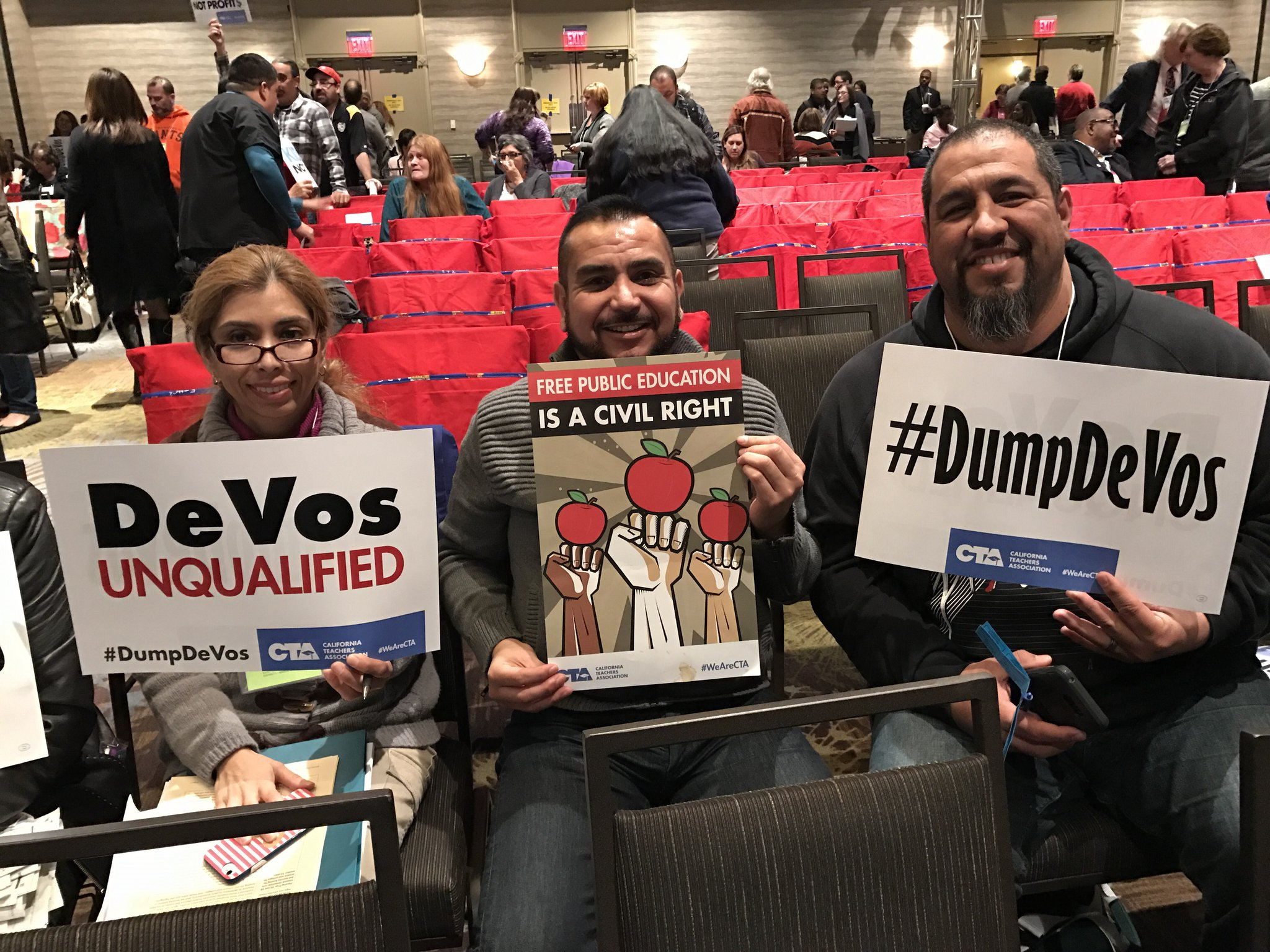 MTA State Council Reps Alma Orta, Eddie Garcia, Paul Chavez. #WeAreCTA #DumpDeVos https://t.co/Ccomc7spbX