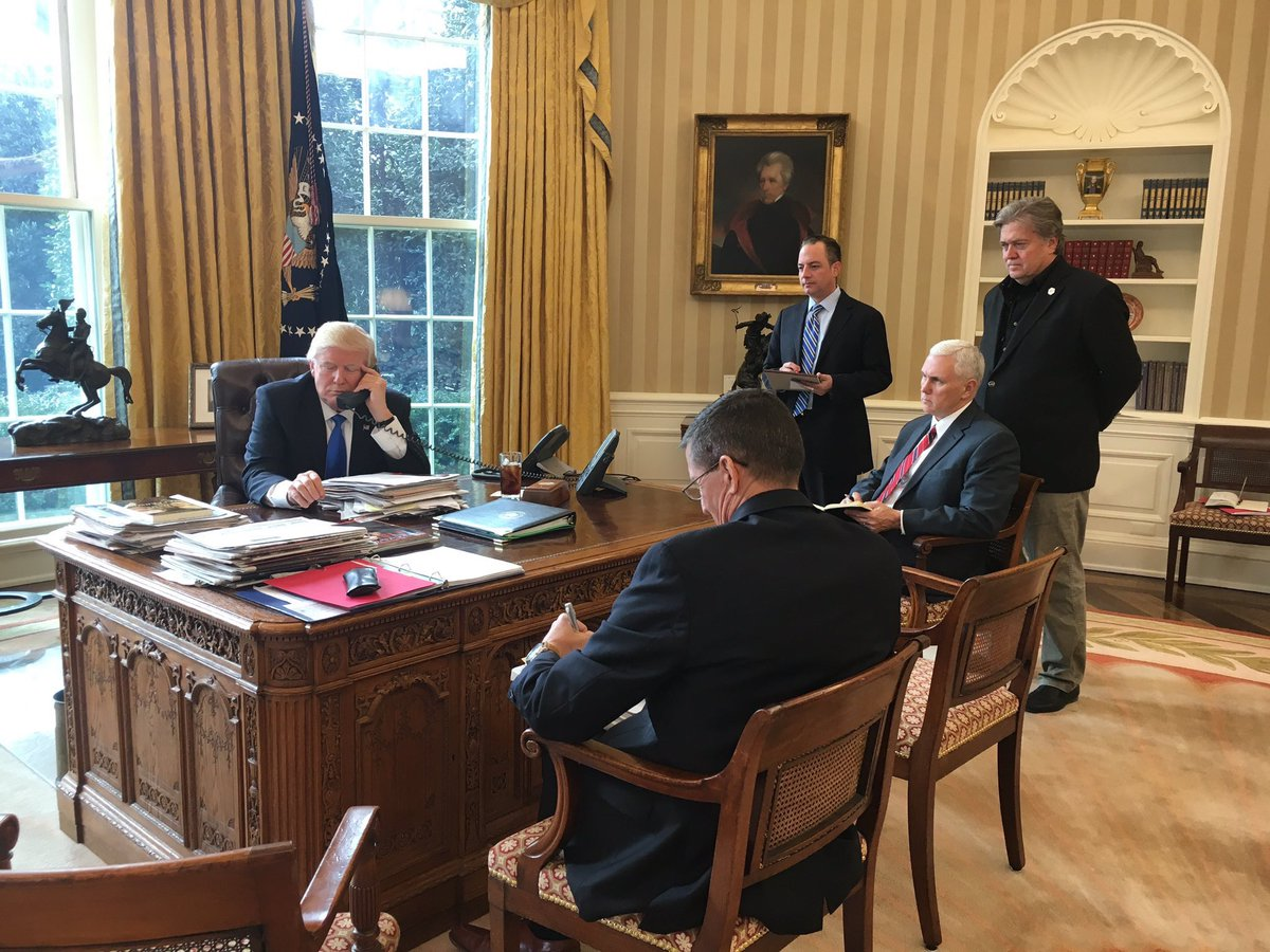 Brian Stelter on Twitter On Trumps desk in the Oval Office