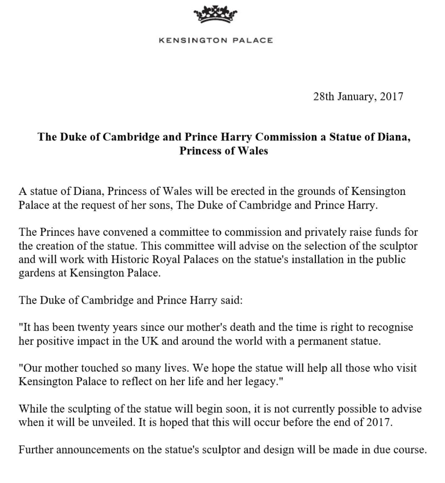 kensington palace on twitter at the request of the duke of kensington palace on twitter at the request of the duke of cambridge prince harry a statue of diana princess of wales is to be erected at kensington