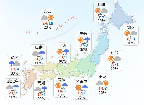 【1月29日(日)】九州は雨が降ったりやんだりで、中国と四国も昼ごろから雨が降り出すでしょう。近畿か…