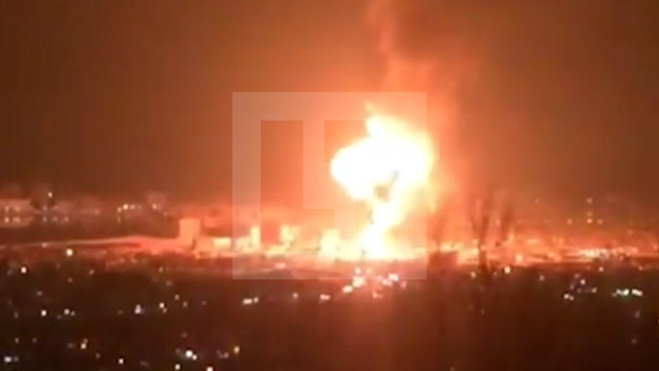 House roof caught fire due to explosion at gas station in Makhachkala