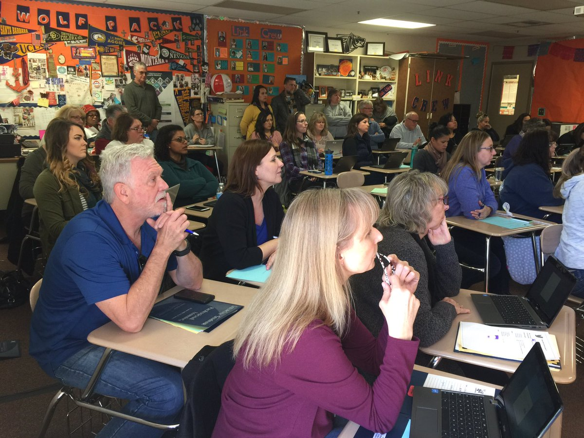 photos of teachers attending session to learn about Twitter