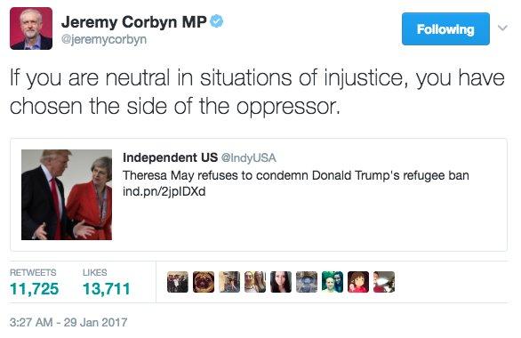 イギリス労働党党首コービンが、トランプによる難民拒否へのコメントを避ける同国首相メイに対し、アパルト…