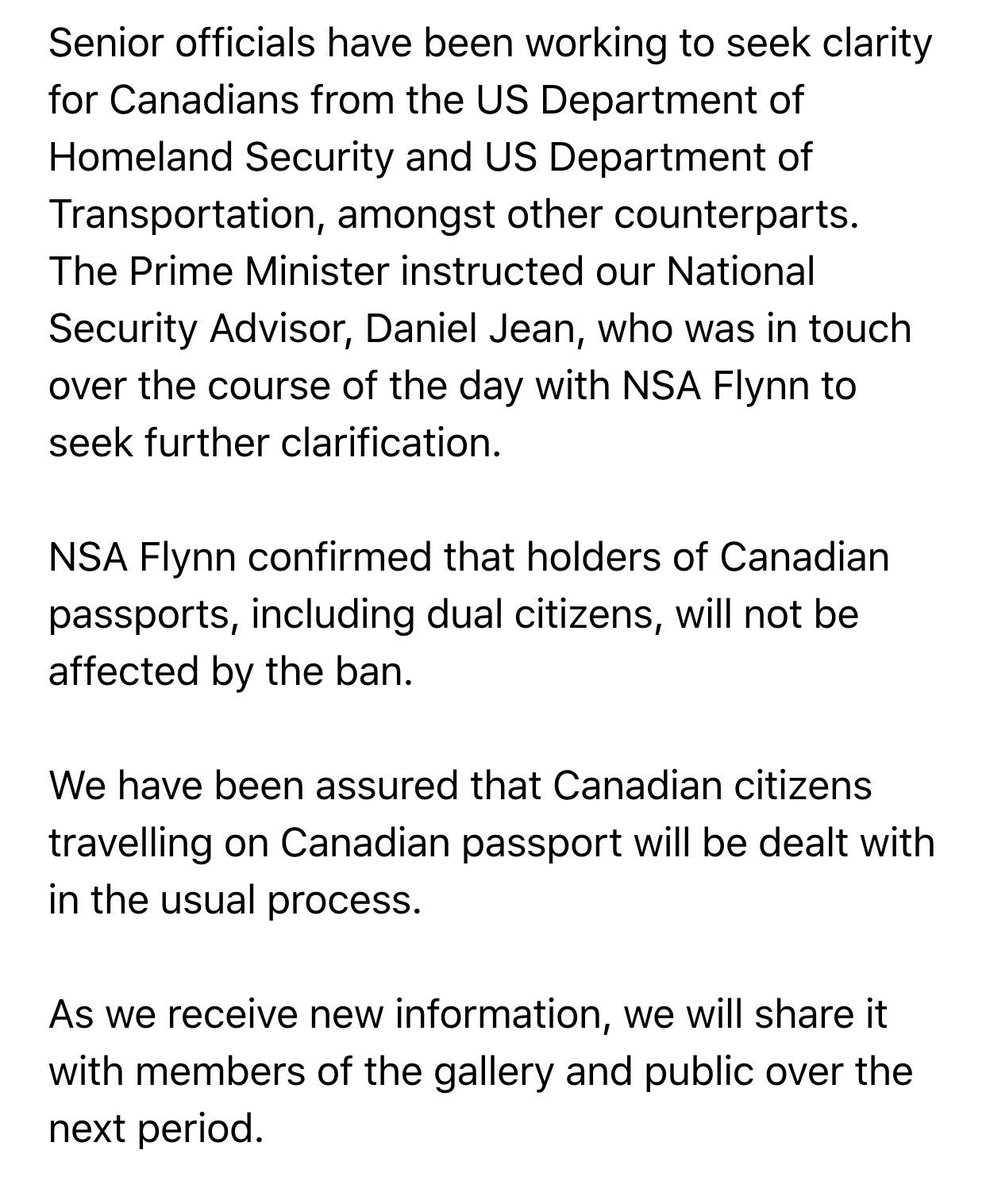 PMO says Canadians are not affected by the new US immigration policy #hw