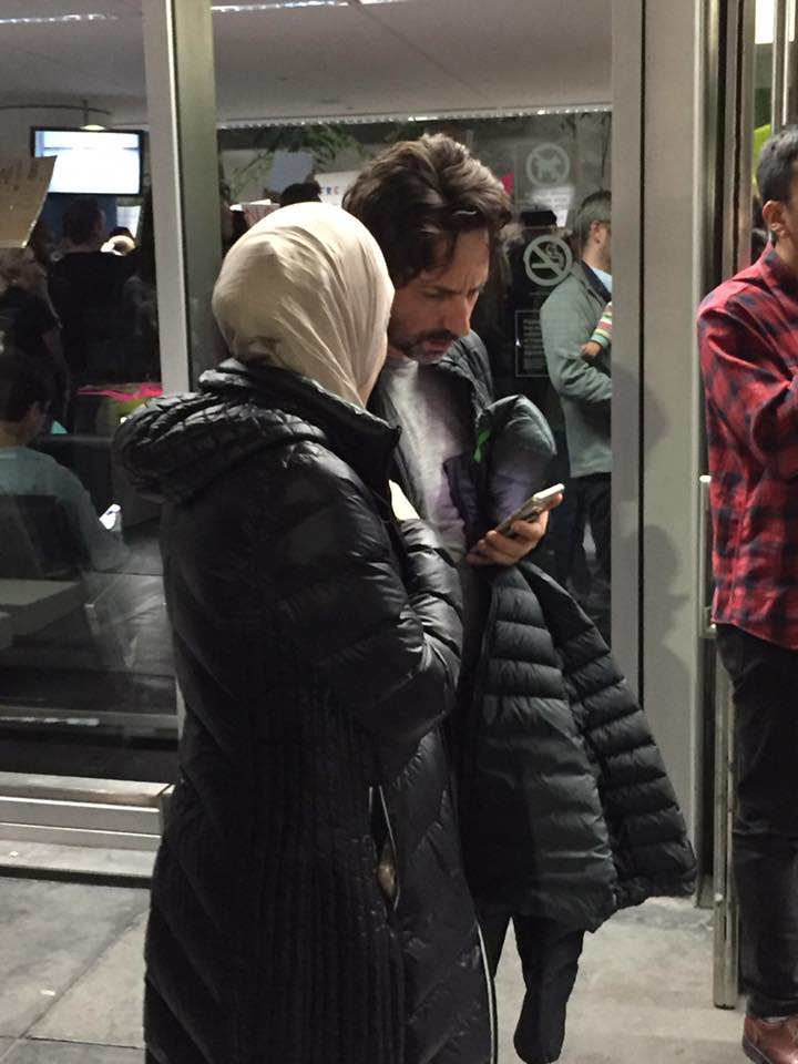 Google cofounder Sergey Brin at SFO protest: 'I'm here because I'm a refugee.' (Photo from Matt Kang/Forbes)