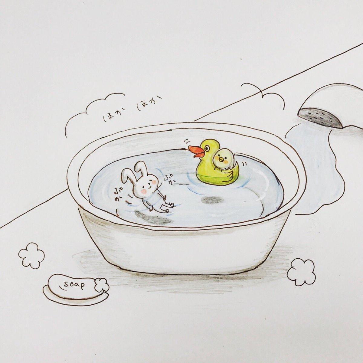트위터의 Mochi Usagi 님 今日のお風呂ピヨ丸アヒルに乗る