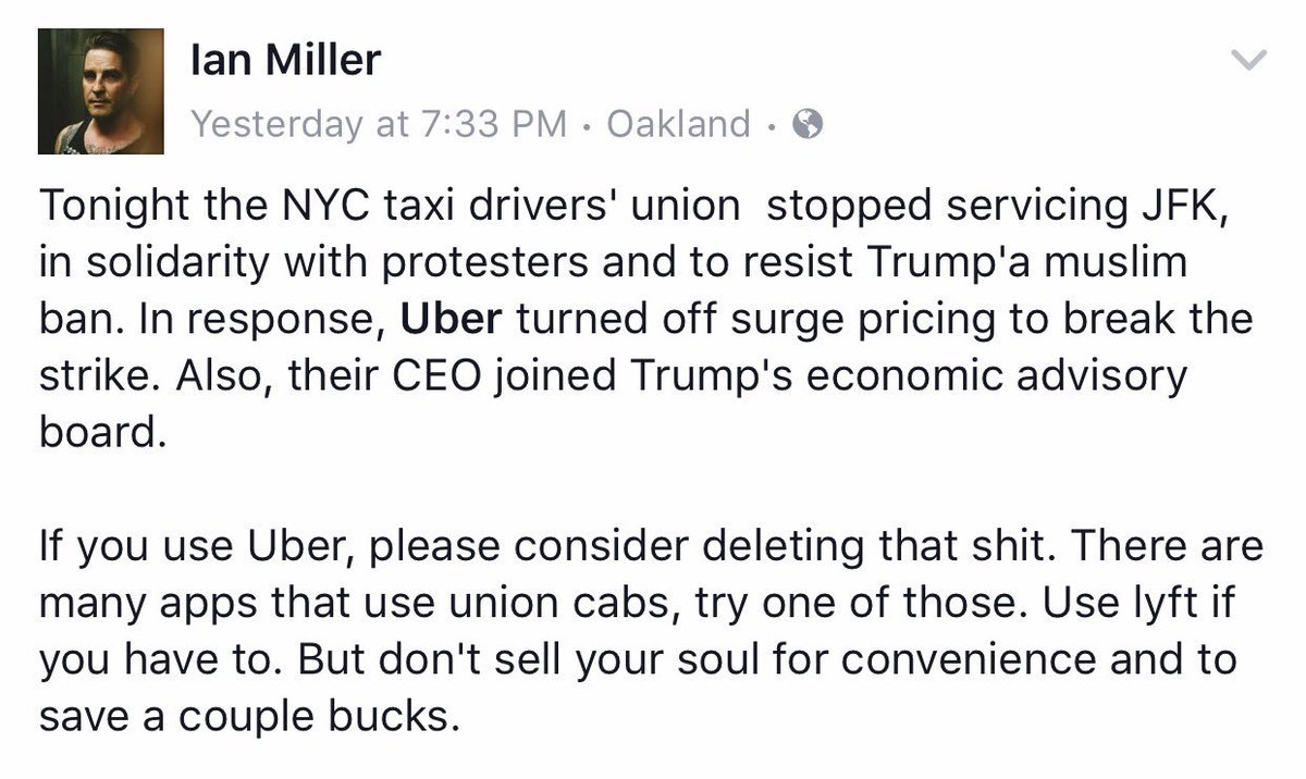 Wow. To know that Uber actually turned off surge pricing to break the #MuslimBan protest? #deleteuber for real ✊