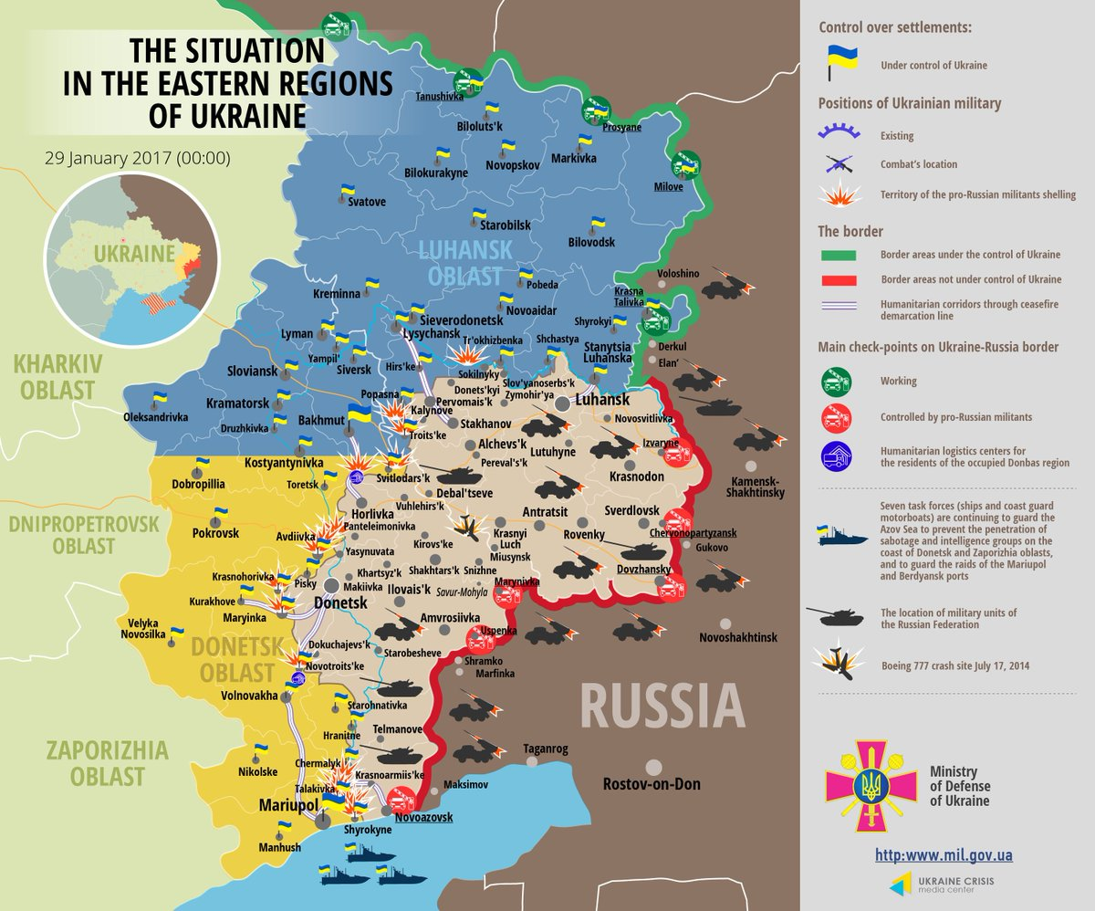 Map Situation in eastern Ukraine January 29 2017 0000 EET – Eastern Map