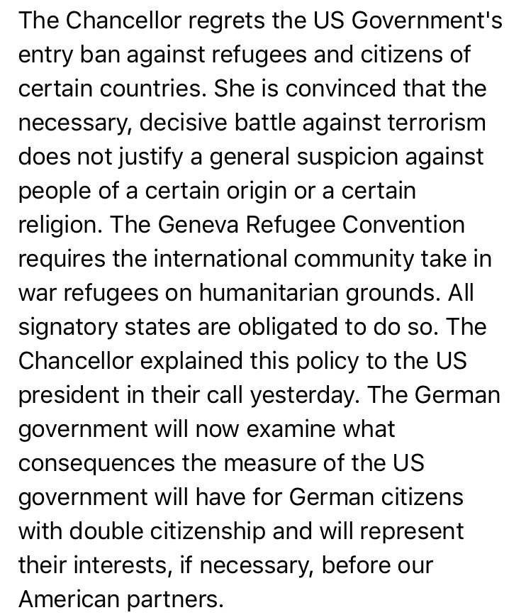 Merkel calls US travel ban unjustified. Her spokesman's full statement, a quick translation: https://t.co/FQTOYkqrjs