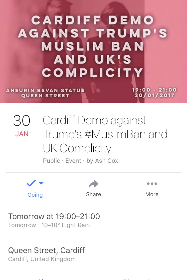 Cardiff demo against Trump's #MuslimBan tomorrow - https://t.co/nRVO4js3QH https://t.co/SW1PXyx2ez