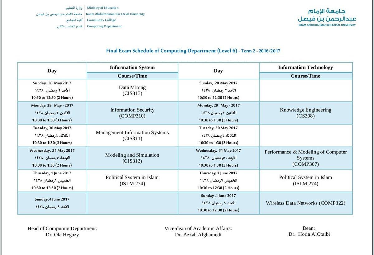 الاختبارات النهائية الدراسي 1437-1438 جداول