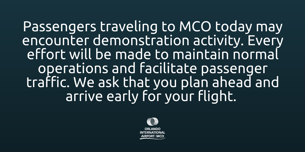 Statement regarding expected demonstration activity at MCO: https://t.co/jyZEfgqEPc