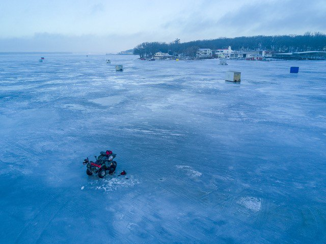 Travel iowa on twitter scenic sunday drone view of ice for Ice fishing iowa