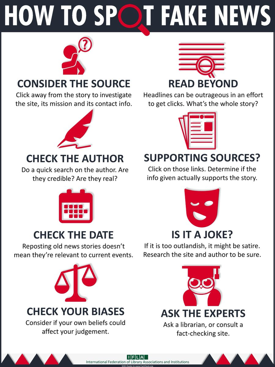 How to spot fake news via @IFLA https://t.co/f2pbgMwgKP