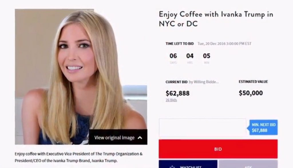 "Image result for ""Enjoy Coffee with Ivanka Trump in NYC or DC."""