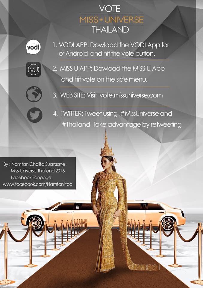 เตรียมพร้อมโหวดให้น้ำตาล #MissUniverse #Thailand 7 โมงเช้า 30 มค 60 พร้อมๆกับการถ่ายทอดสดช่อง 28 ช่วยกันนะคะ! https://t.co/x3ihxhJUnB