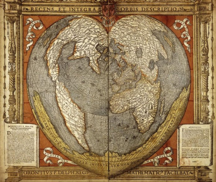 """A Modern and Complete Map of the World"" (1534): heart-shaped world map by French cartographer Oronce Fine: https://t.co/a6jKP2oejh #maps https://t.co/GDcFLX4QeC"