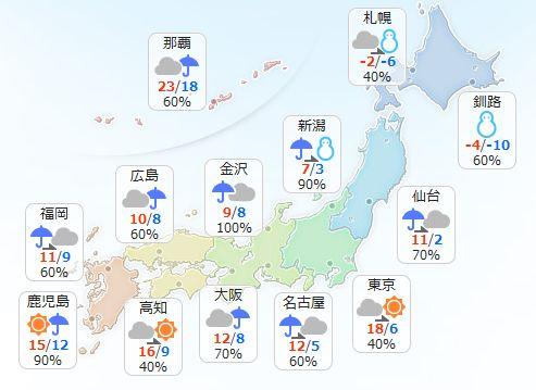 【1月30日(月)】全国的に北風が強く吹くでしょう。九州から関東は昼ごろまでに雨のやむ所が多く、天気…