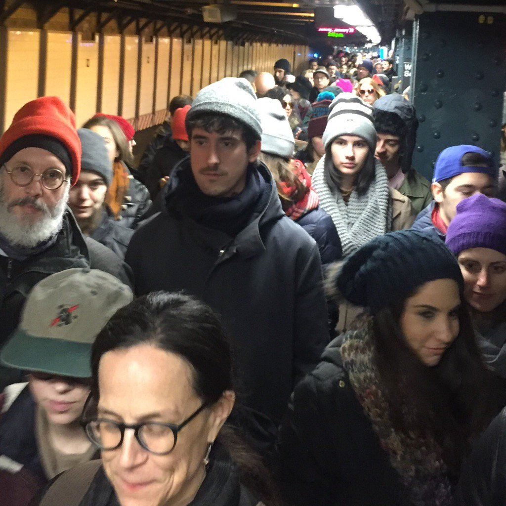 Heading off the packed R Train to the anti-turd-Trump protest against his nativist UnAmerican orders. #WeWillWin ⚫️
