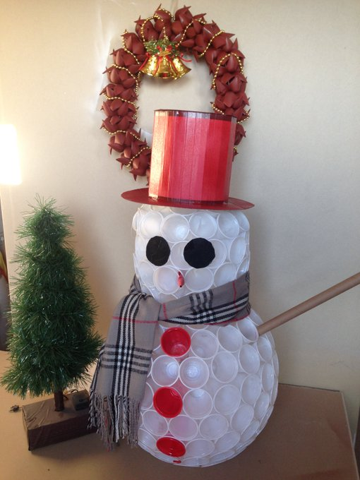 DIY Snowman with Plastic Bottle/Cups