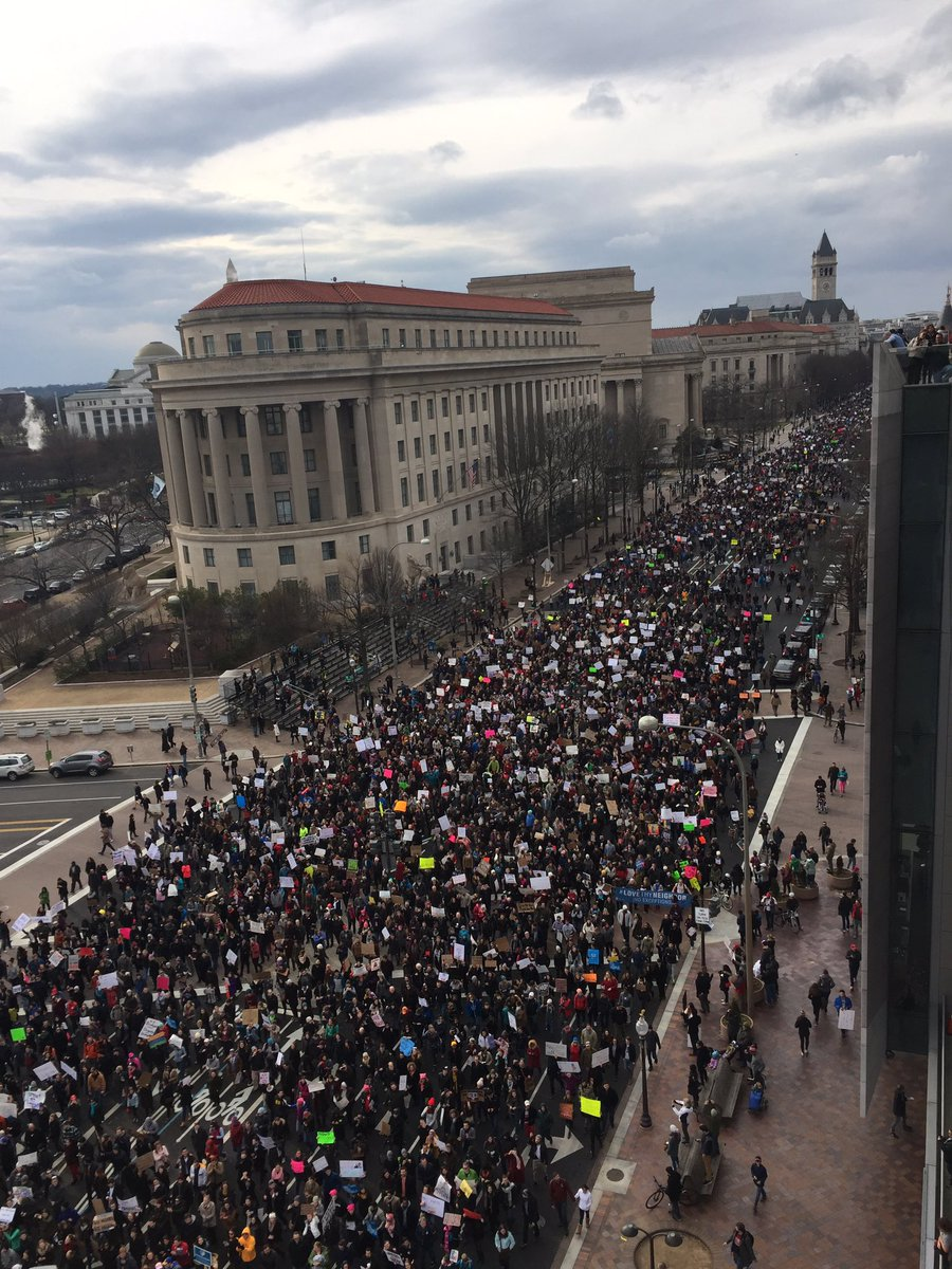Right now Washington D.C. is packed again with people protesting Trump's unAmerican racist nativism. A new generation is rising. #WeWillWin