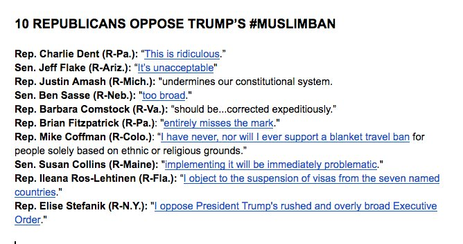 Here are the 10 Republicans who flat-out oppose Trump's #MuslimBan (Cc @steveburgess1 & @washingtonpost) https://t.co/R7LTWdmrql