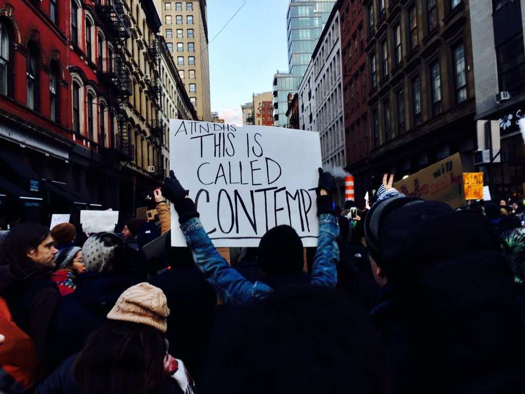 """This is called contempt"" - sign now at #resist #nyc #protest @gothamist @doctorow #RESISTANCE https://t.co/hLR2RAB5zC"