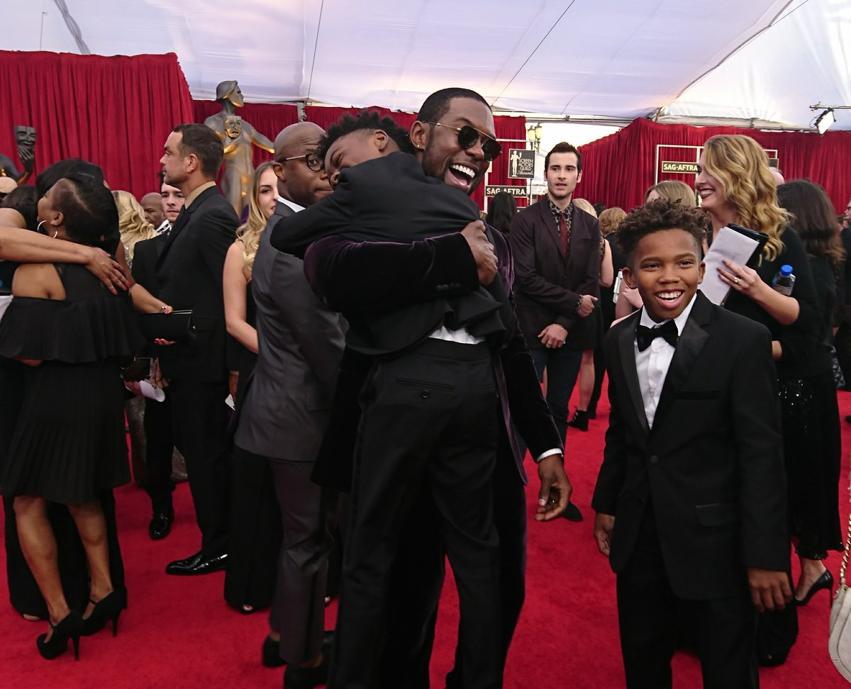 """Trevante Rhodes with his """"Moonlight"""" cast mates Alex R. Hibbert and Jaden Piner. (Amy Kaufman / Los Angeles Times)"""