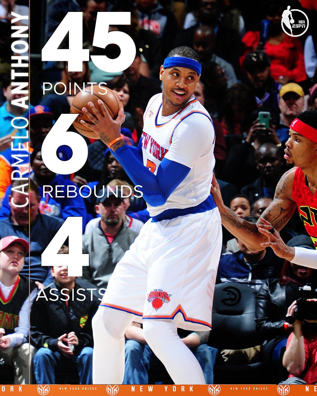 "NBA On ESPN On Twitter: ""45 Points = Melo's Highest"