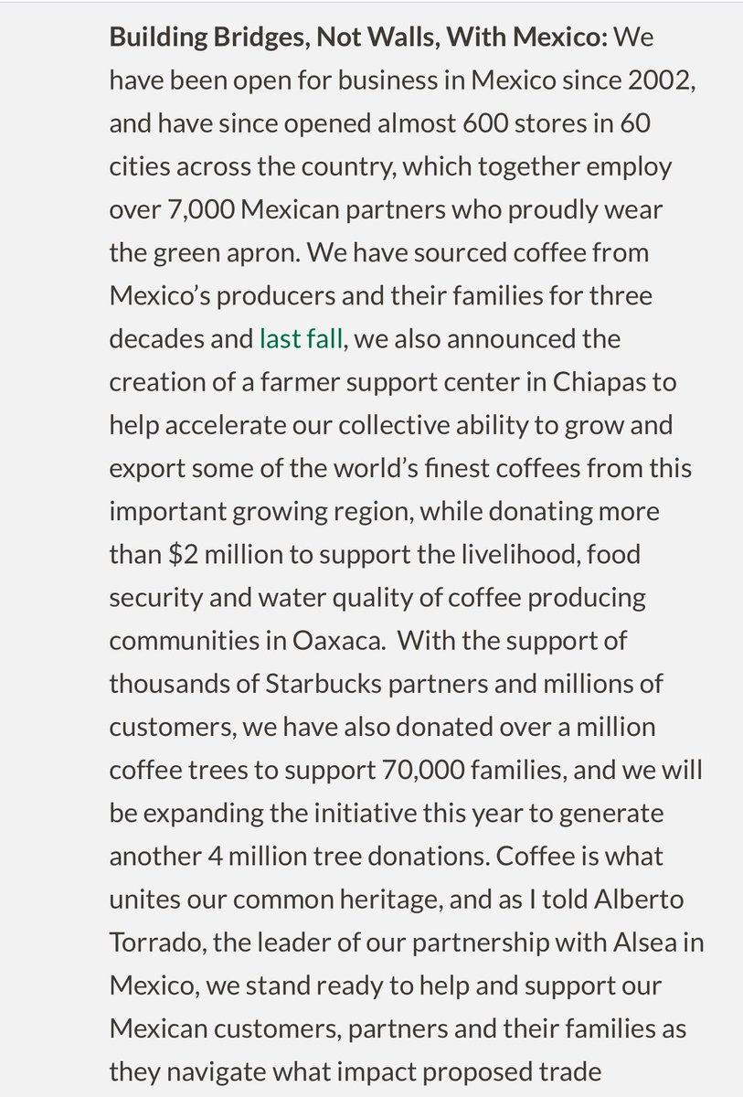 Esto es lo que dice el CEO de @Starbucks... si crees que apoyar a México es dejar de comprar ahí, léelo. https://t.co/Y9cUs5KXgm