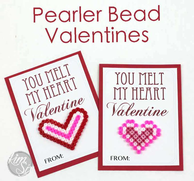 You Melt My Heart Perler Bead Valentine (Free Printable)