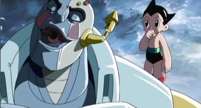 ロボットの肩に乗る鉄腕アトムの壁紙