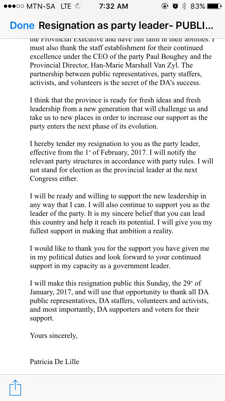 patricia de lille on i ve resigned as our da western patricia de lille on i ve resigned as our da western cape leader thank you to all da leaders staff activists and volunteers my resignation