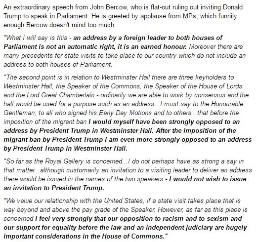 Read John Bercow's FULL speech slamming Donald Trump on our Liveblog: https://t.co/kCJ6dAXStx https://t.co/uKbrBH7pXv