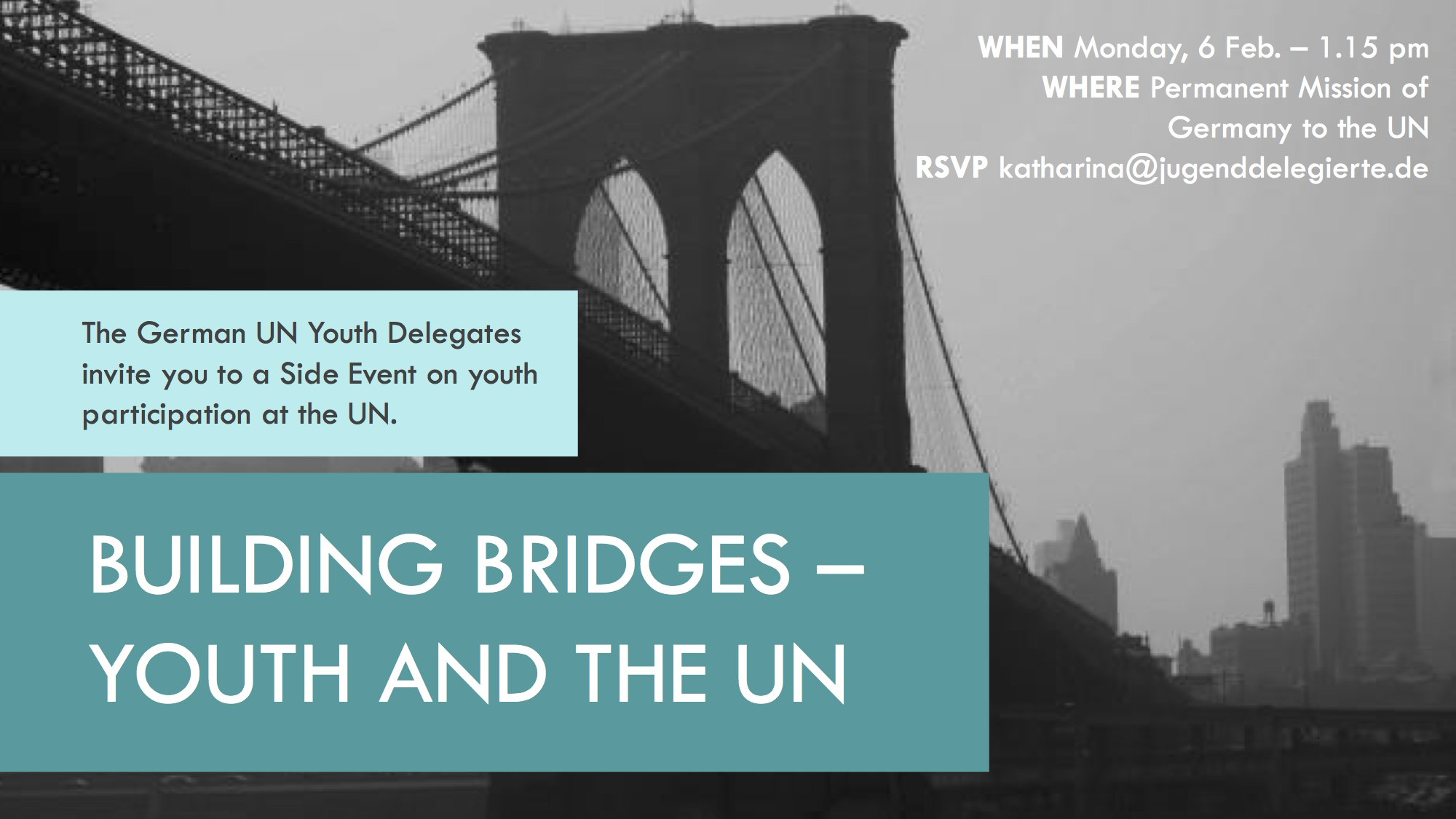 Join us! I'll be speaking today at @GermanyUN on Youth Participation at the UN. Thanks to @YouthDelegates for the invitation. #CSocD55 https://t.co/64R17RCv5v