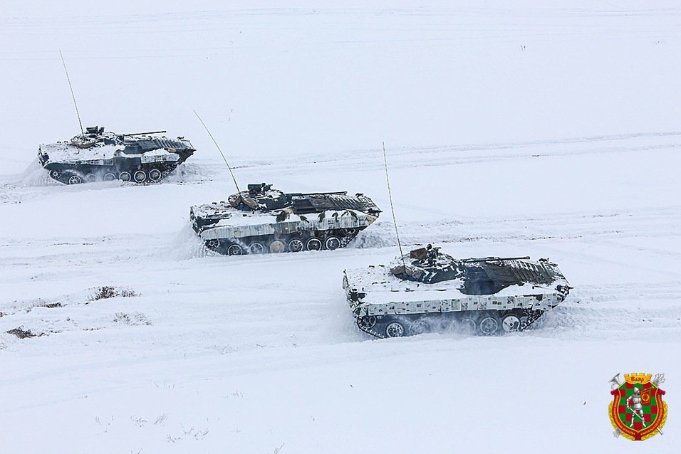 Belarus military instead white paint use newspaper as winter camouflage