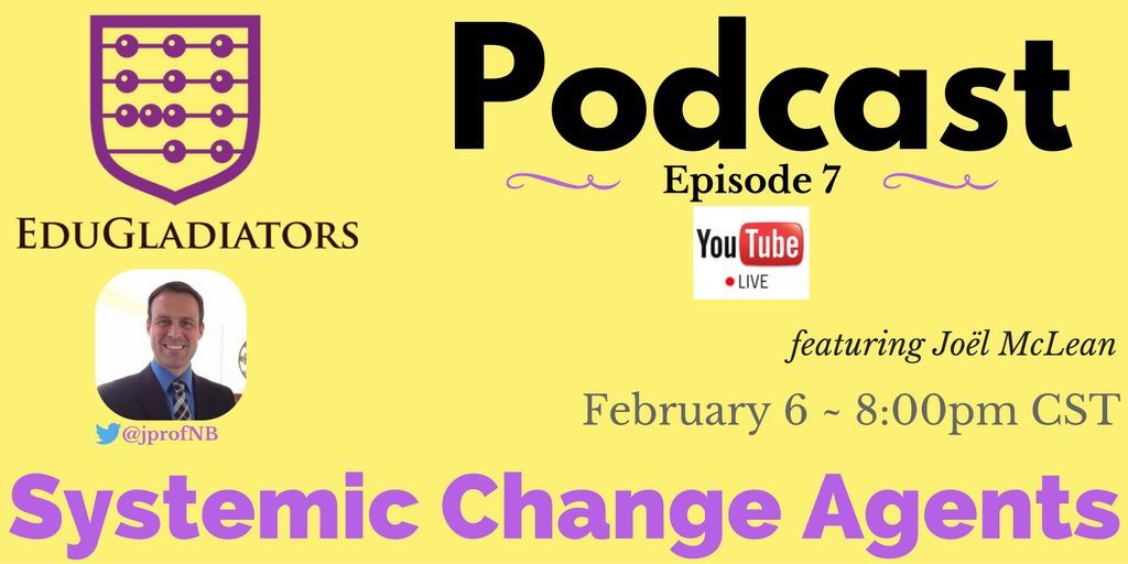 💻#EduGladiators Podcast in 1 hour! Join the 🌎convo w/@jprofNB  ⏯https://t.co/WzIJMnoDM5 #NJEAchat #NYEdchat #Wonderchat #MASSPchat #vachat https://t.co/ljJ3oUkjwF