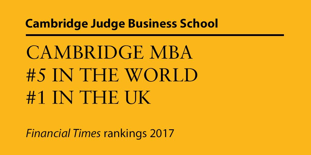 #FTMBAranking 2017 announced as #CambridgeMBA climbs to fifth. #MBA https://t.co/o0ZVaOzxRW https://t.co/sAQnMD5NN4