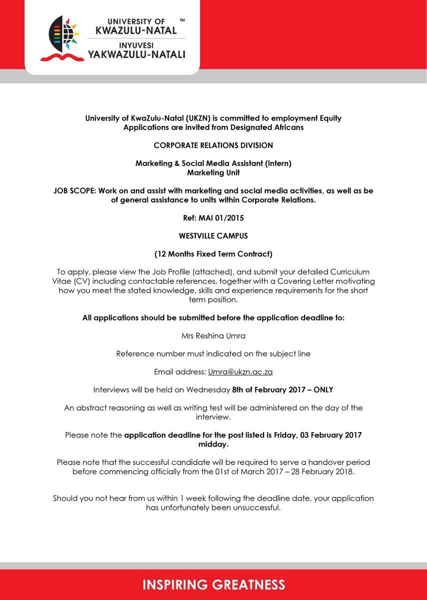 Dear UKZN.  Kindly take note of the following job vacancy.  Regards, Team UKZN https://t.co/OGTaDqEdiN
