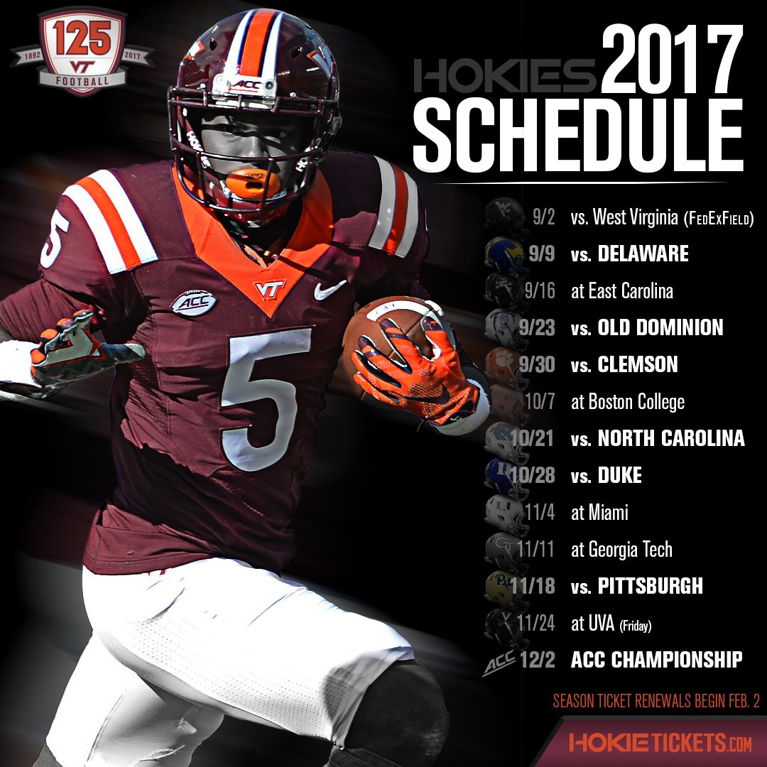 Virginia Tech Football On Twitter 2017 Schedule Breakdown