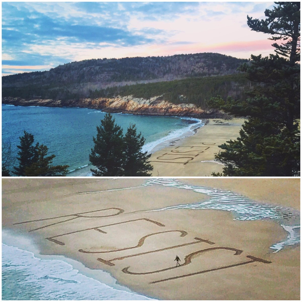 Yes, the word 'RESIST' really was written in letters over 25 feet tall on a beach in Acadia National Park yesterday  https://t.co/yDFrmENG8A
