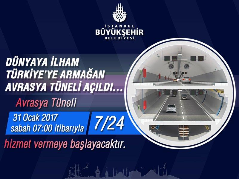 Avrasya Tüneli 31 Ocak 2017 Sabah 07.00 İtibarıyla 7/24 Hizmet Vermeye Başlayacaktır. https://t.co/VoJ60qYzgI