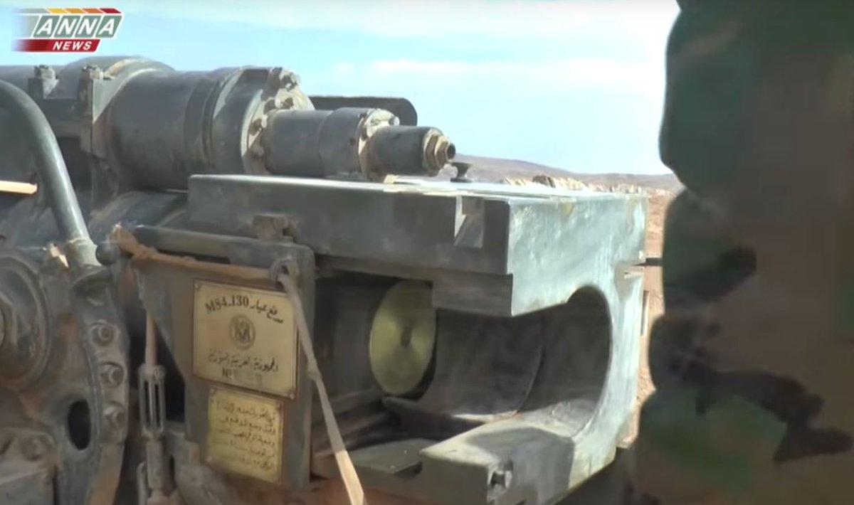 مدفع M-46 عيار 130 ملم الذاتي الحركه المدولب المطور من قبل الجيش السوري  C3bUD8fW8AAt_dH