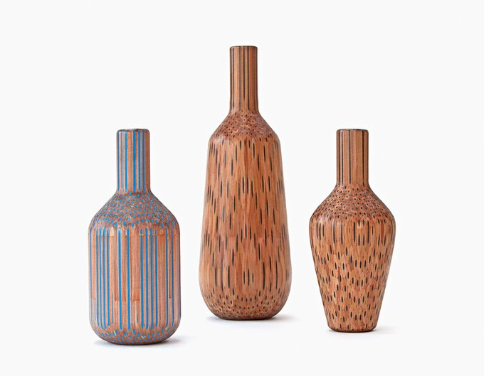 Vases Constructed from Hundreds of Pencils by Studio Markunpoika
